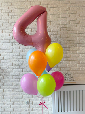 """Hēlija balonu pušķis """"Cipars + 8 baloni"""""""