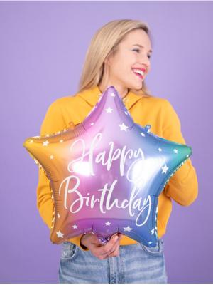 """Folijas balons Zvaigzne """"Happy Birthday"""", krāsains, 40 cm"""