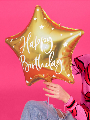 "Folijas balons Zvaigzne ""Happy Birthday"", zelta 40 cm"