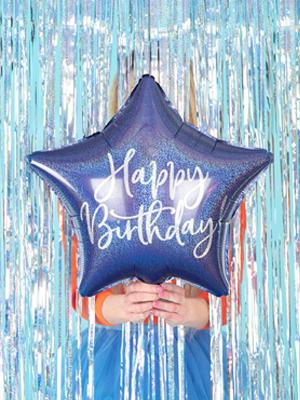 """Folijas balons Zvaigzne """"Happy Birthday"""", tumši zils, 40 cm"""