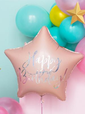 "Folijas balons Zvaigzne ""Happy Birthday"", rozā, 40 cm."