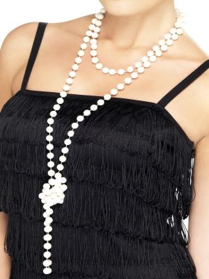 Pērļu krelles, balta, 180 cm