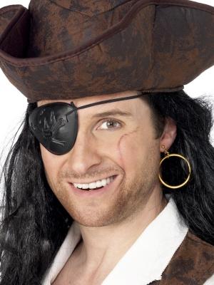 Pirāta acs aizsegs un auss klipsis