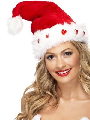 Ziemassvētku cepurīte ar pūkām un uguntiņu