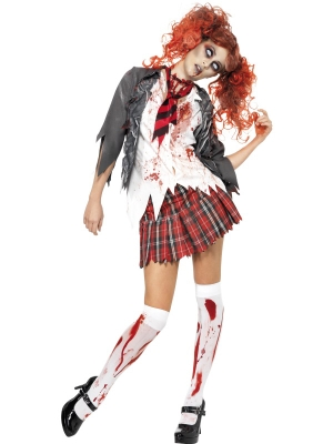 Augstskolas zombija skolnieces kostīms